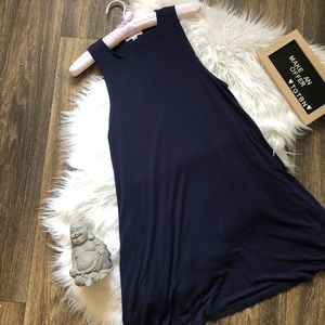 Socialite Navy Blue Sleevless Dress W/ Pockets XS